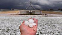 عواصف البرد الضخمة تسبب الفوضى في أستراليا