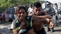 Chaos as Mexico police push back US-bound migrants