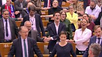 Tears, hugs and Auld Lang Syne as MEPs back Brexit