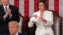 Pelosi rips up copy of Trump's speech