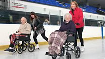 Care home residents enjoy wheelchair ice skating