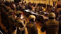 El Salvador army's show of force in parliament