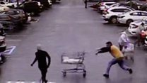 Quick-pondering buyer knocks shoplifter off his feet thumbnail