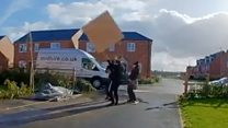 Builder 'donked' by flying plywood
