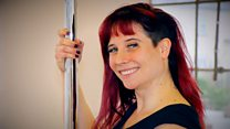 'I was on the pole in between contractions'