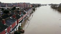 Drone footage shows flooding in Worcester