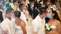 Mass masked wedding in the Philippines