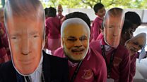 Huge crowds welcome Trump to India