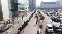 Drone captures massive mask queue in S Korea