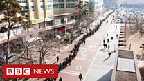 Drone mostra fila enorme por máscaras na Coreia do Sul