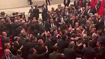 Brawl erupts in Turkish parliament over Syria