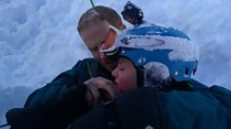 Dad rescues son who fell into hole while skiing