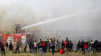 Water cannon and tear gas at Turkish-Greek border