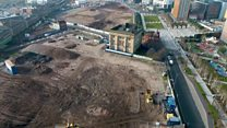 Drone footage of Curzon Street railway station