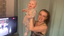 Mothers and children take exercise classes online