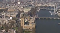 Deserted London landmarks seen from above