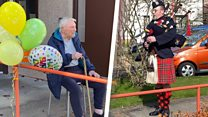 Veteran honoured by piper for 100th birthday