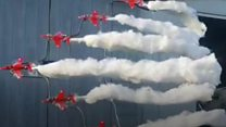 Red Arrows fan stages 'Stay at home' airshow