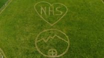 NHS drone message mown into field