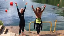 Swimmers' joy at their first socially distanced dip