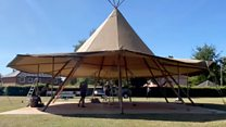 Teepee built in school field to allow social distancing