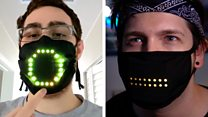 Light-up face mask responds to your voice