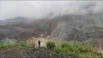 Moment of Myanmar landslide captured on video