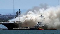 Crew members injured in US Navy ship fire