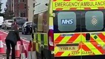 Ambulance uses cycle lane diversion to get to job