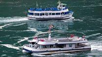 Niagara Falls tour boats show stark social distancing split