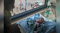 The mother in labour during Beirut blast