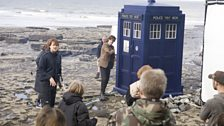 Matt Smith with the TARDIS