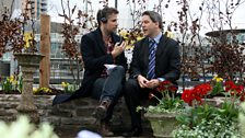 Richard Bacon with Blue Peter editor Tim Levell in the Blue Peter garden