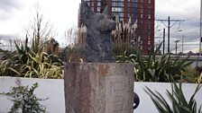 Statue of Petra, the first Blue Peter pet, in the new Blue Peter garden in Salford