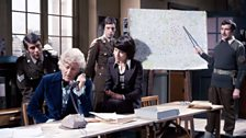 Sergeant Benton, the Doctor, Captain Yates, Sarah Jane Smith and the Brigadier