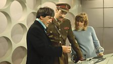 The Second Doctor with Brigadier Lethbridge-Stewart and Jo Grant