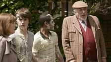Sarah Jane, Luke and Clyde with the Brigadier