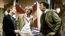 Turlough, the Doctor, and the Brigadier