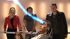 The Doctor, Rose, Adam and Cathica
