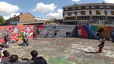 Graffiti tribute to the Queen - work in progress