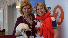 Maria McErlane, Fern Britton and Goliath (Maria's dog)