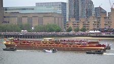 The Queen sails past Radio 2's broadcast from the Thames
