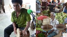 Prasantha Rupathilaka playing the udakkiya and market scene