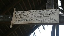 Sign at entrance to Nabusimake. 'Entrance to non-indigenous people prohibited'
