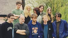 Blur with John Peel and family at Peel Acres in 1997