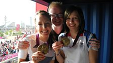 Chris Evans with cycling champions Dani King and Joanna Rowsell