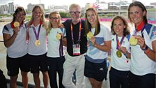 Chris Evans meets the women's rowing Olympic champions!