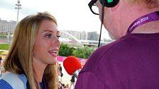 Chris talks to Laura Trott on the Champions' Balcomy