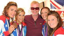 Team GB's hockey girls with Chris Evans