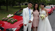 Anita Rani with Zheng Feng and his wife Zhang Jiaying on their wedding day in Hangzhou, for which they hired a fleet of cars.